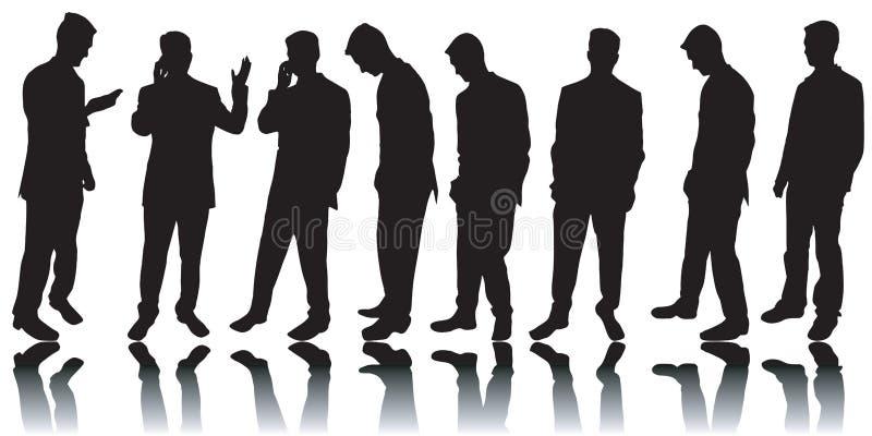 Bedrijfs mensensilhouetten royalty-vrije illustratie