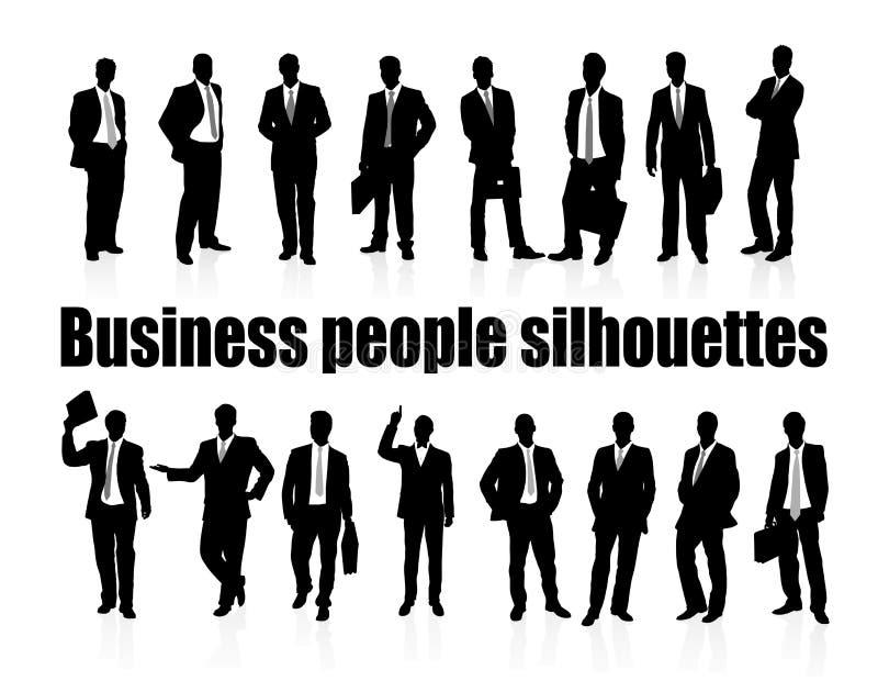 Bedrijfs mensensilhouetten vector illustratie