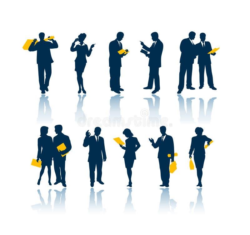 Bedrijfs mensensilhouetten stock illustratie