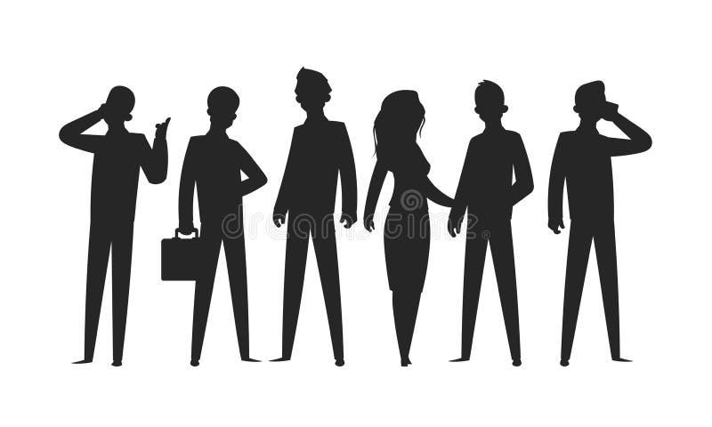 Bedrijfs mensensilhouetten Van het het bureauteam van de onderneemster professionele persoon de groepsman advertentievrouw Vector royalty-vrije illustratie