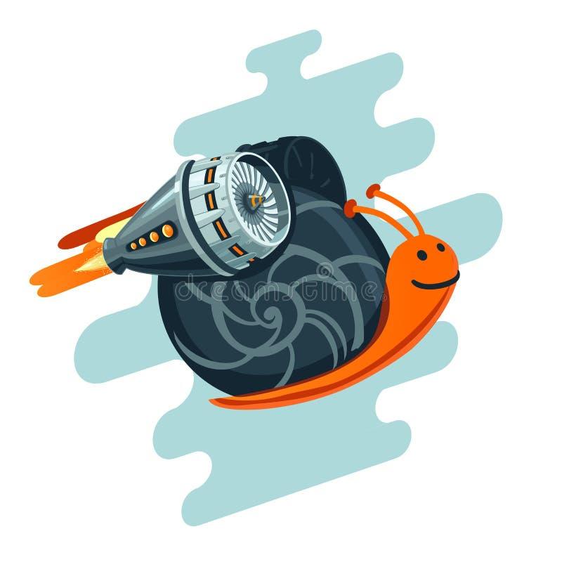 Bedrijfs metafoor Vliegende slak met raketturbine Startsymbool stock illustratie