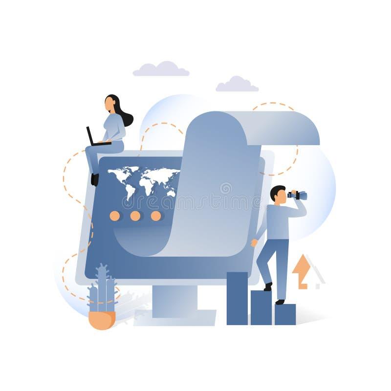 Bedrijfs metaforisch vectorconcept voor Webbanner, websitepagina stock illustratie