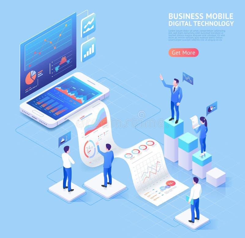 Bedrijfs mobiele toepassings isometrische illustraties stock illustratie
