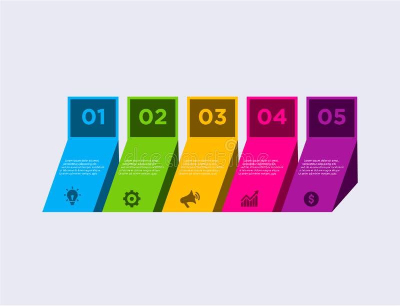 Bedrijfs moderne infographic Vector het ontwerpmalplaatje van de infographicschronologie stapreeks Vector illustratie kleurrijk vector illustratie