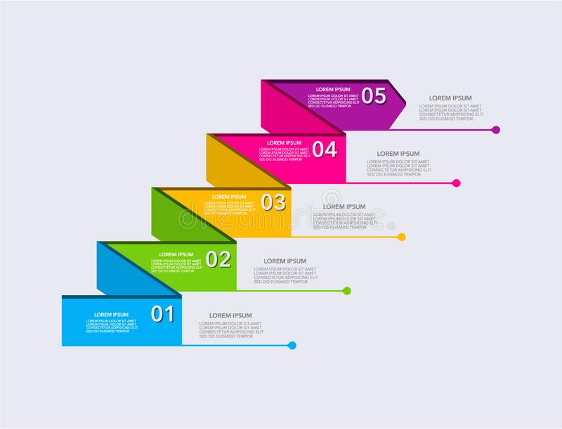 Bedrijfs moderne infographic Vector het ontwerpmalplaatje van de infographicschronologie stapreeks Vector illustratie kleurrijk royalty-vrije illustratie