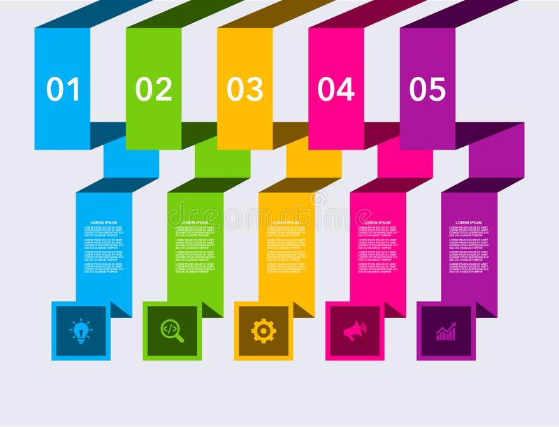Bedrijfs moderne infographic Vector het ontwerpmalplaatje van de infographicschronologie stapreeks Vector illustratie kleurrijk stock illustratie