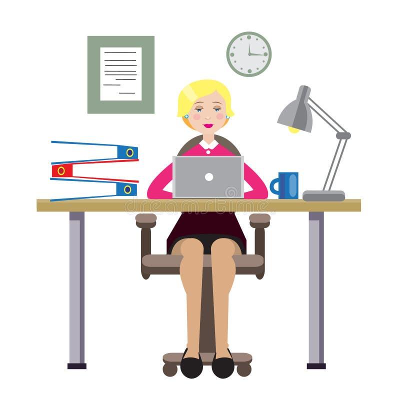 Bedrijfs mooie vrouw die in het bureau werken Vector illustratie, EPS10 vector illustratie