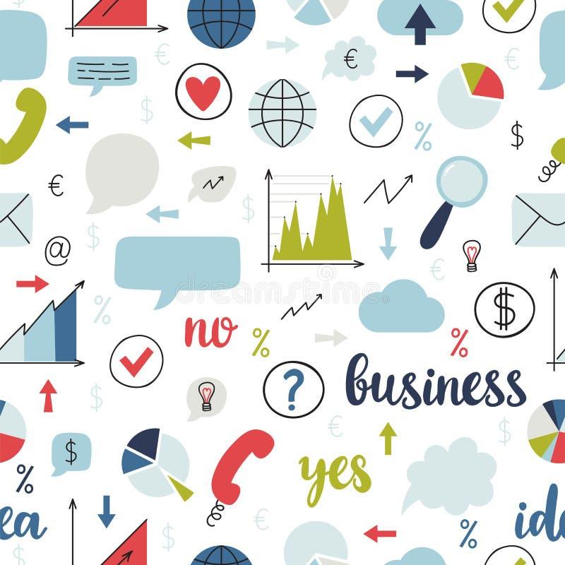 Bedrijfs naadloos patroon Reeks pictogrammen voor financiën, marketing, beheer, strategie en mededeling Het concept van World Wid vector illustratie