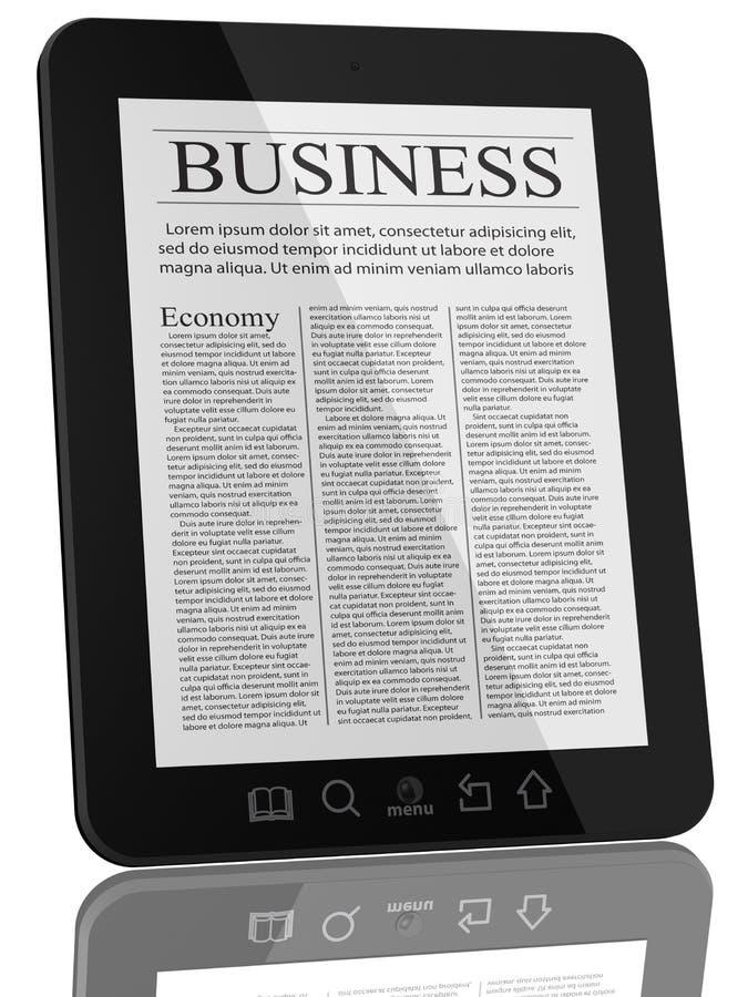 Bedrijfs Nieuws op de Computer van PC van de Tablet royalty-vrije illustratie