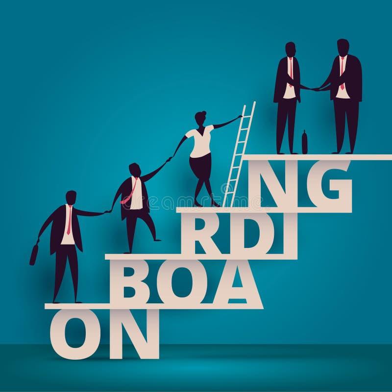 Bedrijfs onboarding concept U-manager hurende werknemer of arbeiders voor baan Het aanwerven van personeel of personeel in bedrij vector illustratie