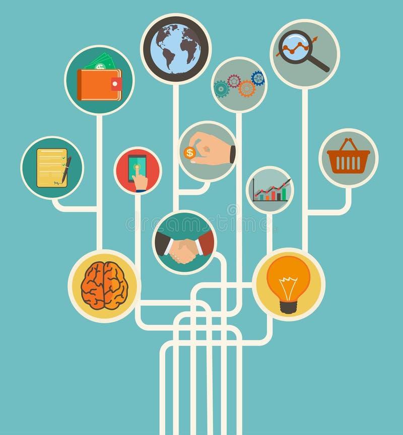 Bedrijfs online handel met pictogrammen in vlakke retro stijl stock illustratie