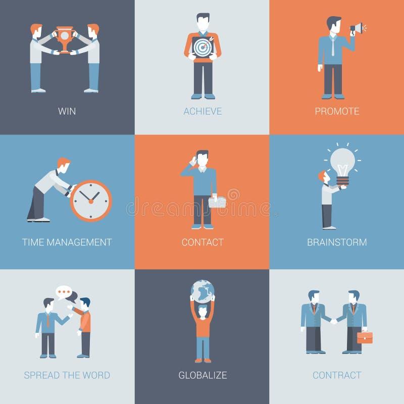 Bedrijfs op de markt brengende bevorderingsmensen en objecten situaties vlak stock illustratie
