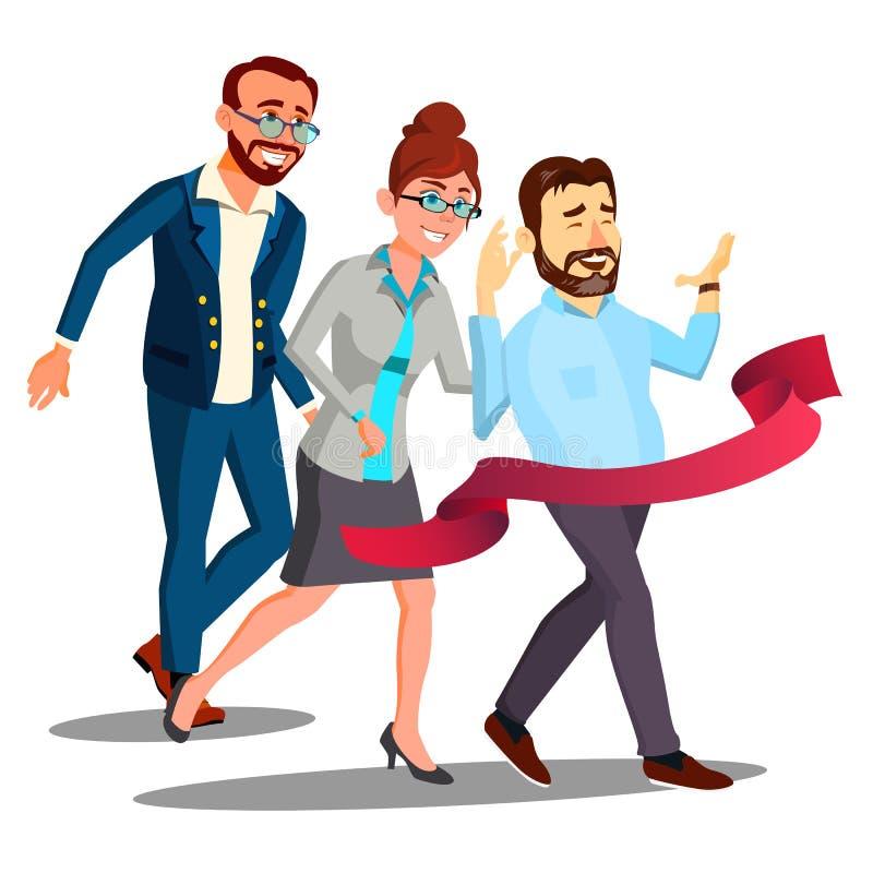 Bedrijfs Opleiding, Bureauwerknemers in Pakken die Lijnvector lopen te beëindigen Geïsoleerdeo illustratie stock illustratie