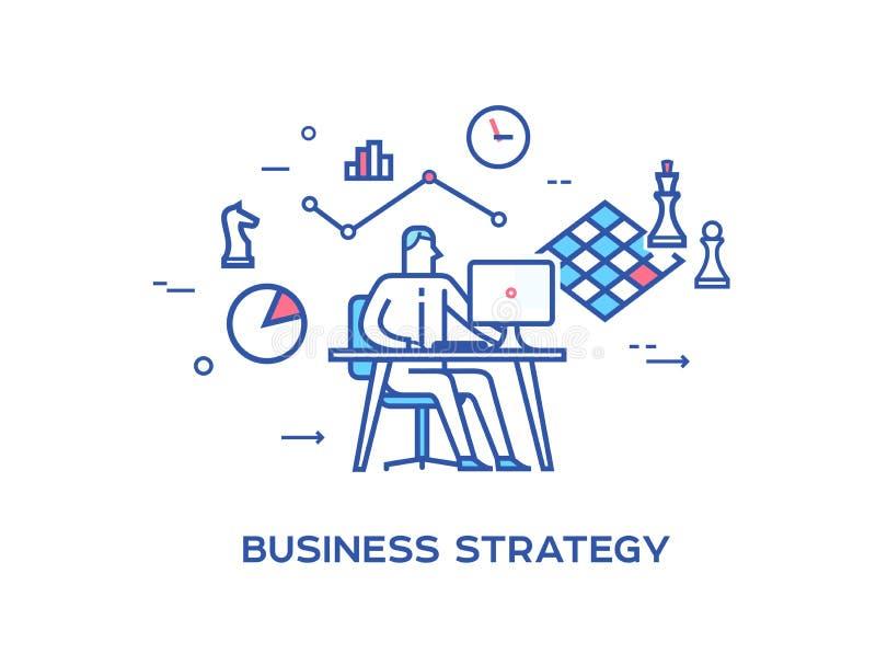 Bedrijfs persoon die aan computer werken Bedrijfs pictogrammen Gezamenlijke inspanningen, succes, unie Bedrijfs strategie Lijnpic vector illustratie