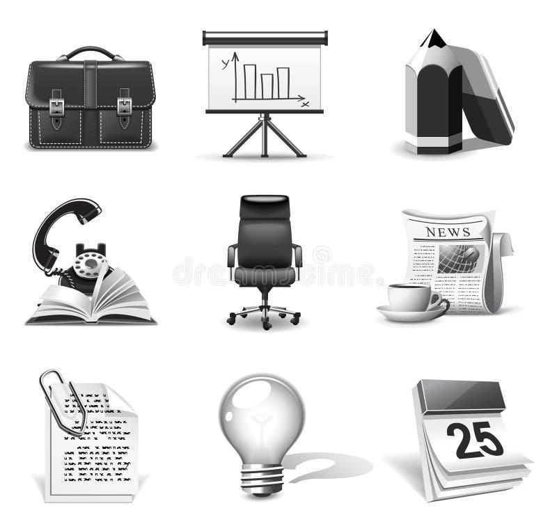 Bedrijfs pictogrammen | B&W reeks stock illustratie