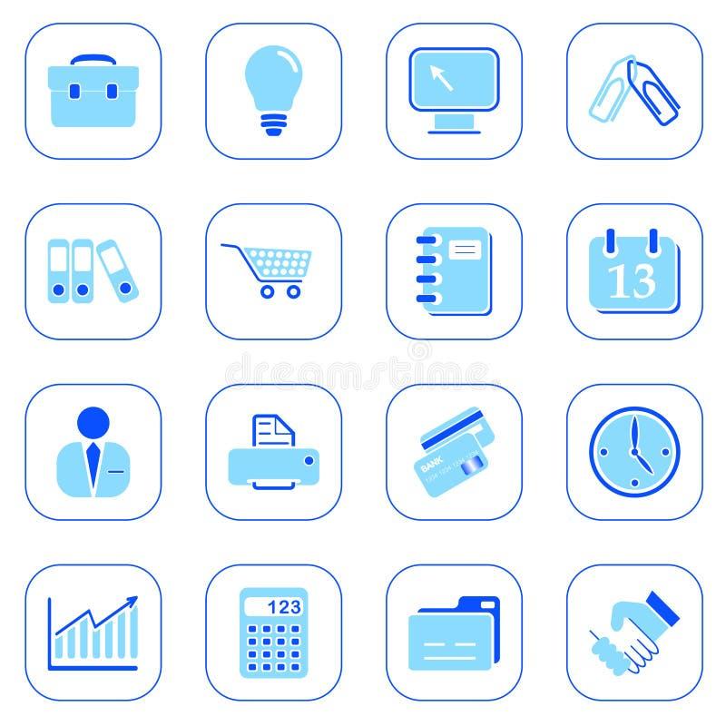 Bedrijfs pictogrammen - blauwe reeks royalty-vrije illustratie