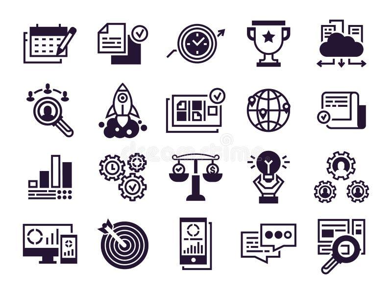 Bedrijfs pictogrammen Collectieve bedrijfsgroepswerk, wereldwijd partnerschap en bureaubeheers vector geplaatste silhouetsymbolen royalty-vrije illustratie