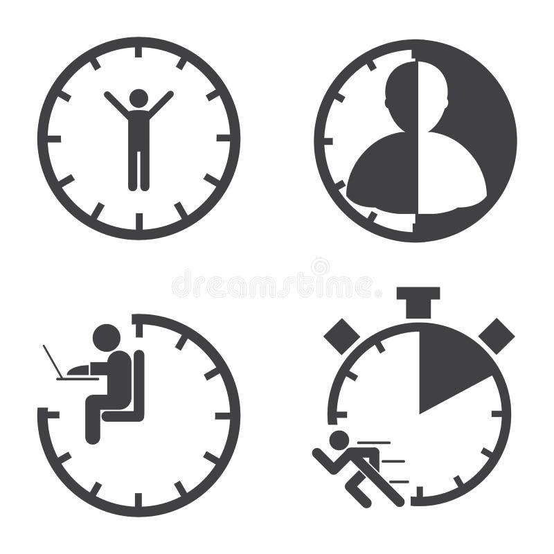 Bedrijfs pictogrammen Het Concept van het tijdbeheer Vector stock illustratie
