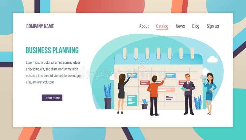 Bedrijfs planning, organisatie, bedrijfs planningstaken, tijdcontrole, personeelsbeheer vector illustratie