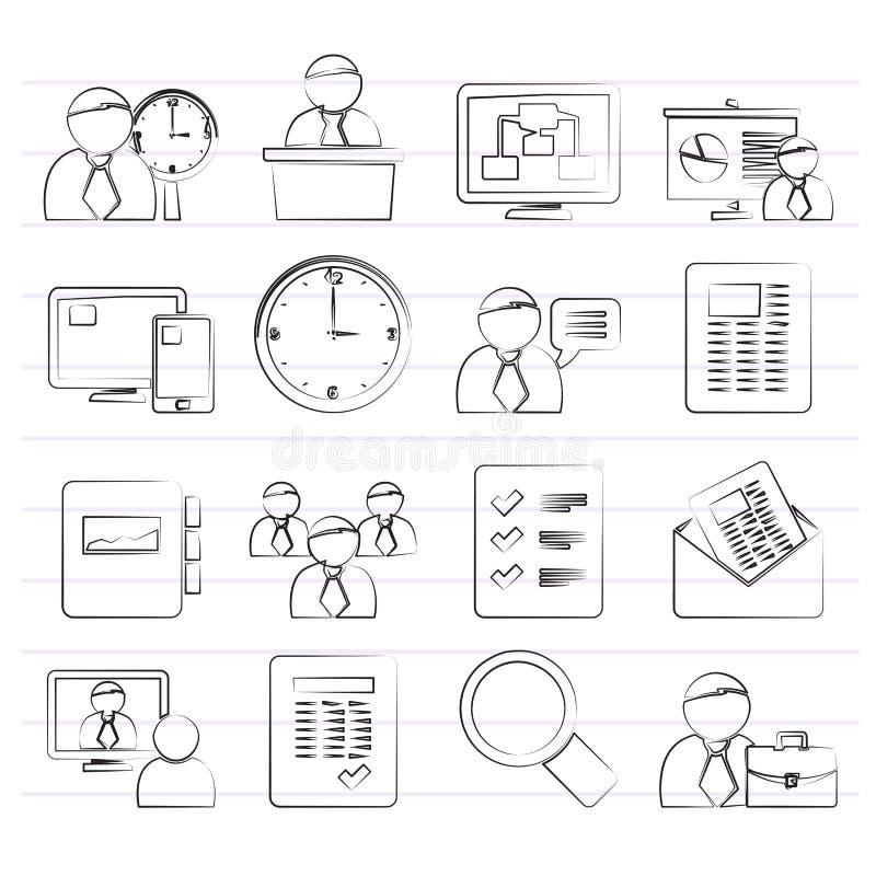 Bedrijfs, presentatie en Projectleidingspictogrammen stock illustratie