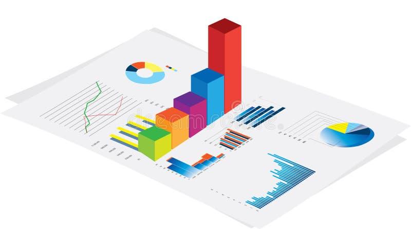 Bedrijfs prestatiesgrafieken stock illustratie