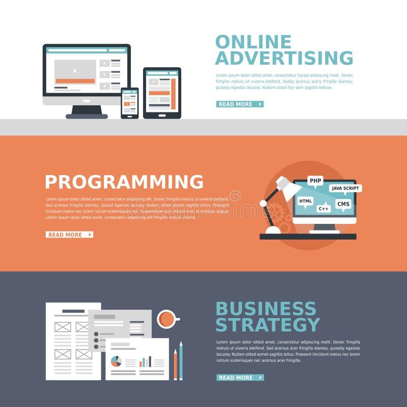 Bedrijfs reclamebanner in vlak ontwerp royalty-vrije illustratie