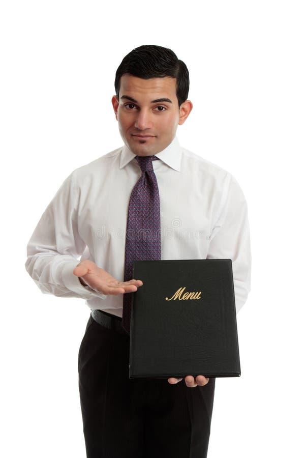 Bedrijfs restauranteigenaar die een menu voorstelt stock afbeeldingen