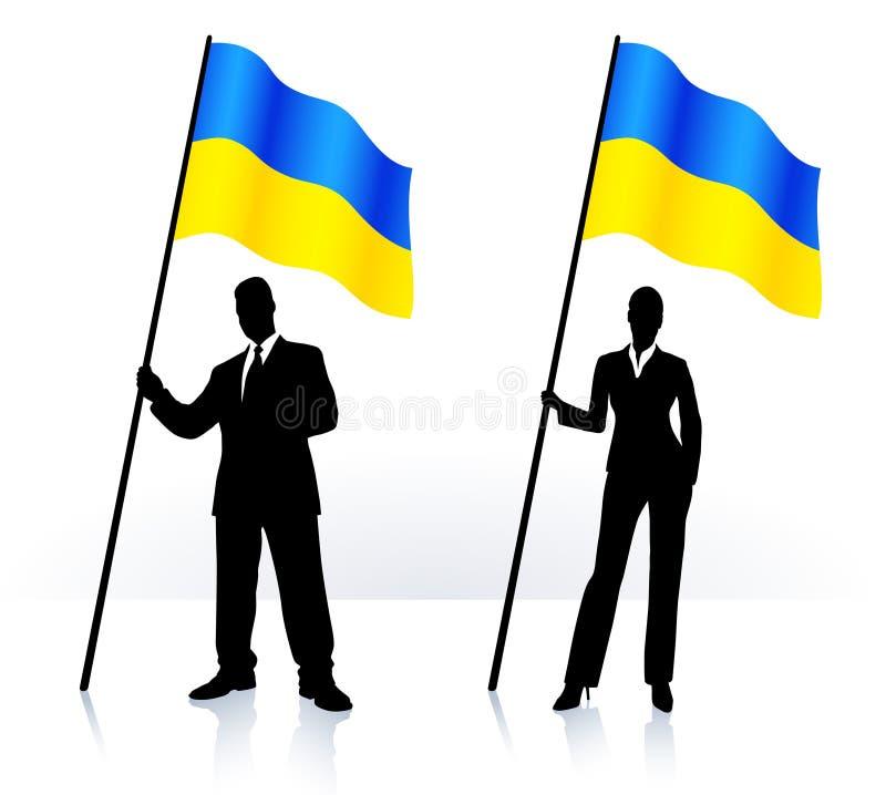Bedrijfs silhouetten met golvende vlag van de Oekraïne stock illustratie