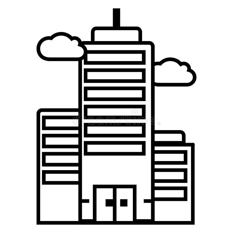 Bedrijfs skyscrapper vectorlijnpictogram, teken, illustratie op achtergrond, editable slagen stock illustratie
