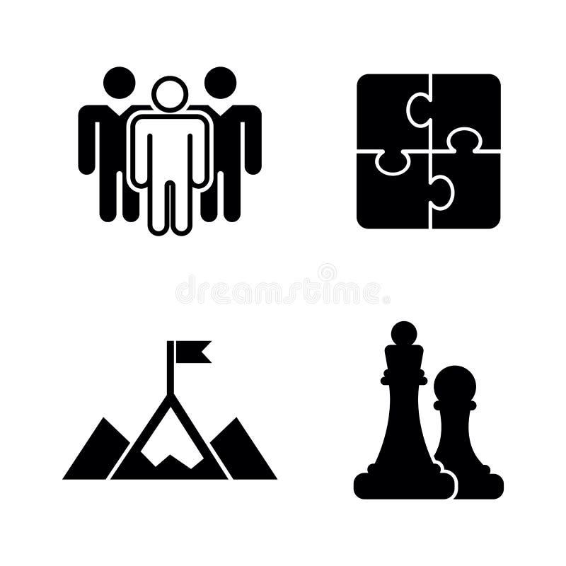 Bedrijfs strategie Eenvoudige Verwante Vectorpictogrammen royalty-vrije illustratie