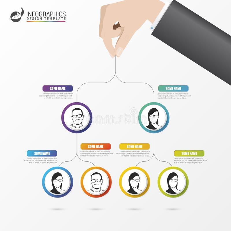 Bedrijfs structuur Organigram Het ontwerp van Infographic Vector stock illustratie