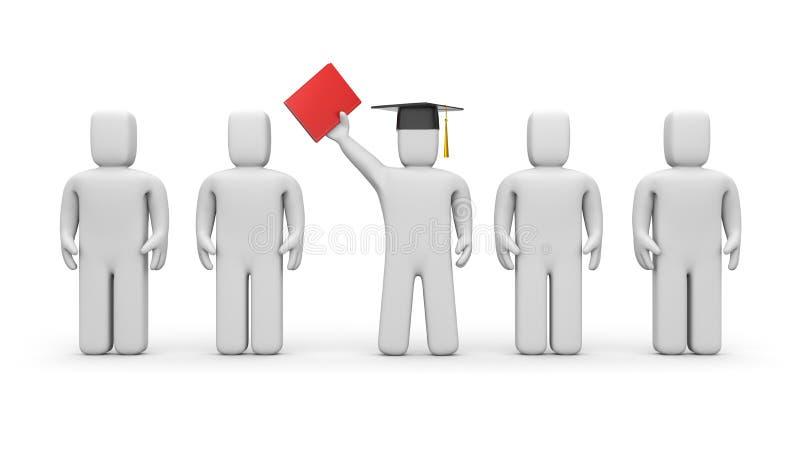 Bedrijfs studenten en spreker of academisch stock illustratie