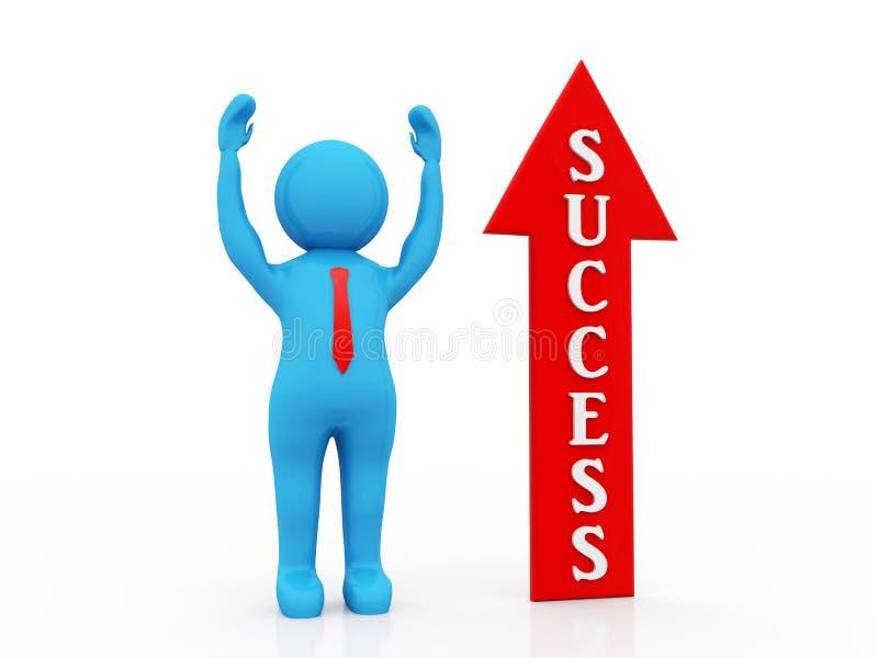 Bedrijfs succesconcept 3d geef terug stock illustratie