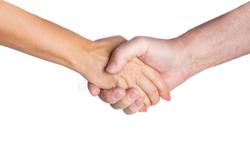 Bedrijfs succesconcept Een handdruk van twee partners op een witte achtergrond Handdruk van de mens en vrouw stock foto's