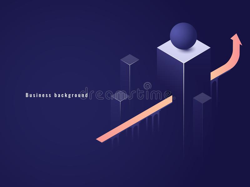 Bedrijfs succesvol concept, carrière, pijl omhoog isometrische vectorillustratie, tunnel met stock illustratie