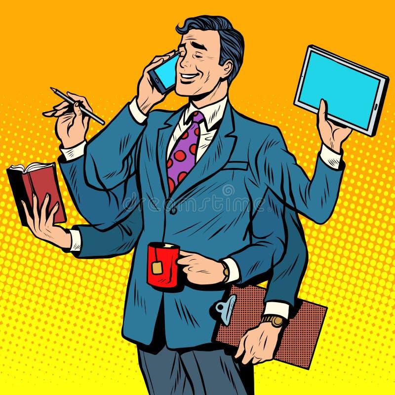 Bedrijfs succesvolle zakenmanmultitasking royalty-vrije illustratie