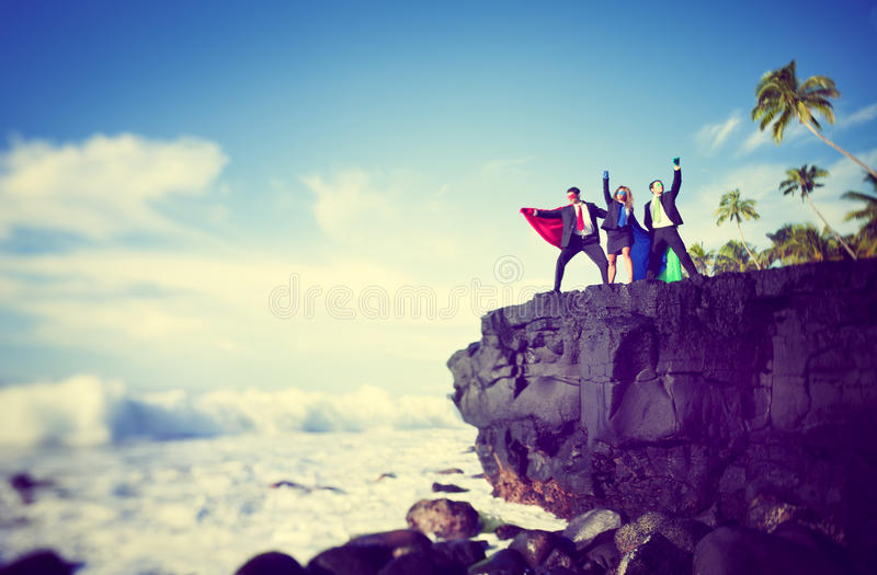 Bedrijfs superheroes rand van klip stock afbeeldingen
