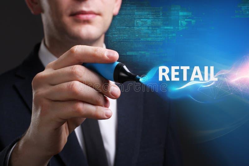 Bedrijfs, Technologie, van Internet en van het netwerk concept De jonge zakenman die aan het virtueel scherm van de toekomst werk stock afbeeldingen