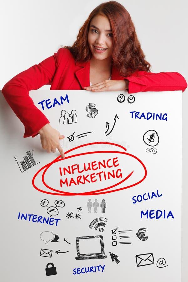 Bedrijfs, Technologie, van Internet en van het netwerk concept De jonge zakenman toont het woord: Invloed marketing - Beeld stock afbeelding