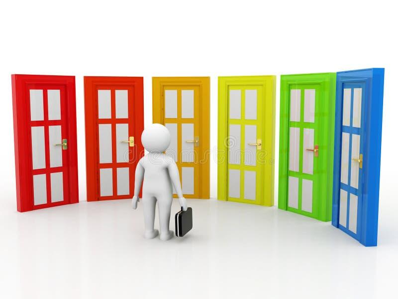 Bedrijfs twijfelachtig Keusconcept, Bedrijfsmensen en deuren, Keusconcept op witte achtergrond 3D Illustratie vector illustratie