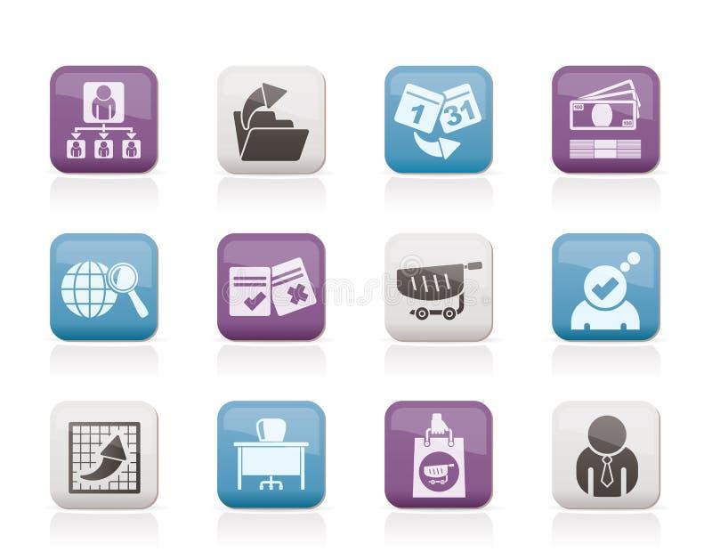 Bedrijfs, van het Beheer en van het bureau pictogrammen royalty-vrije illustratie