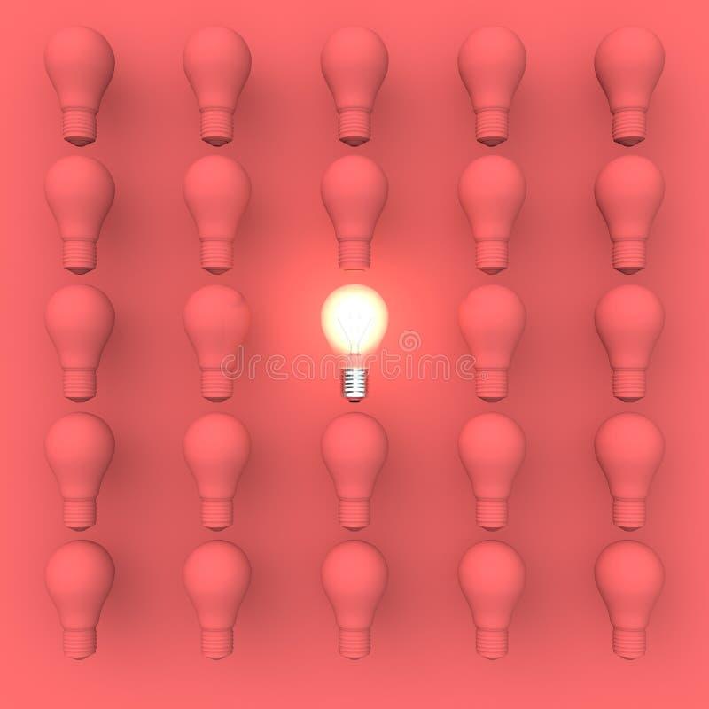 Bedrijfs Vastgesteld Helder Ideeconcept met Gloeilampen vector illustratie