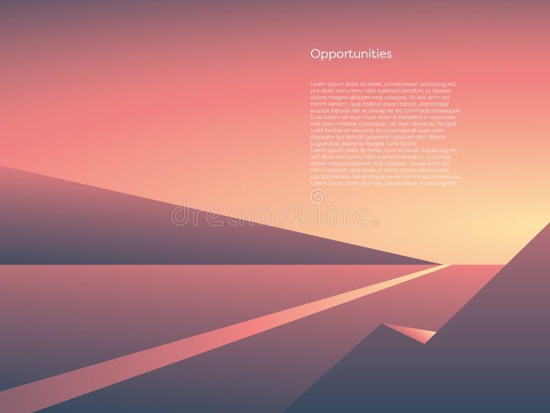 Bedrijfs vectorconcept nieuw begin, kans en avontuur Symbool van carrièreverandering, begin, doelstellingen royalty-vrije illustratie