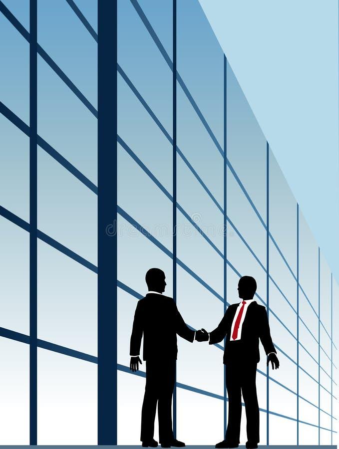 Bedrijfs verhoudingshanddruk de bouwvenster stock illustratie