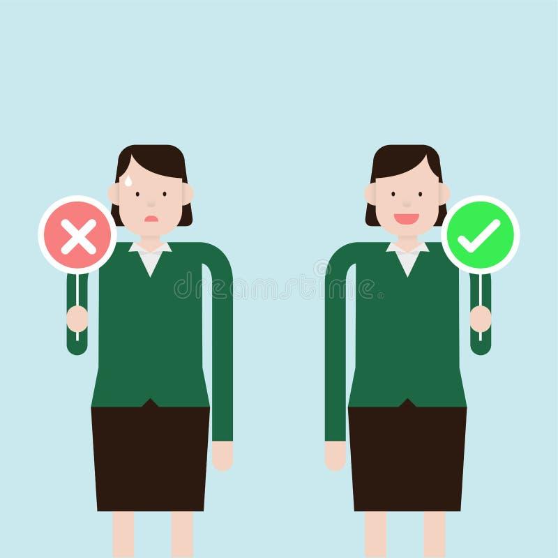Bedrijfs verkeerd en juiste vrouwenholding stock afbeeldingen