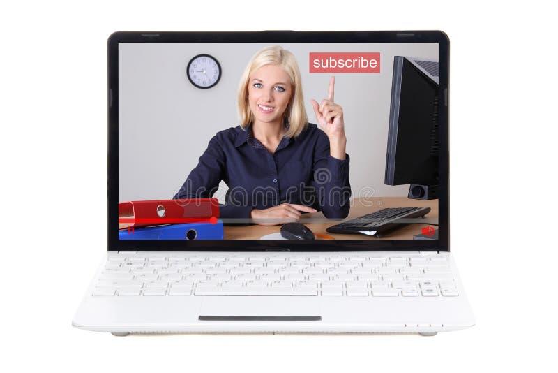 Bedrijfs videoblogconcept - bedrijfsvrouw die op subscri richten stock foto's