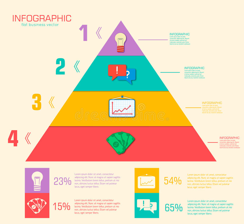 Bedrijfs vlak infographic malplaatje met tekst stock illustratie