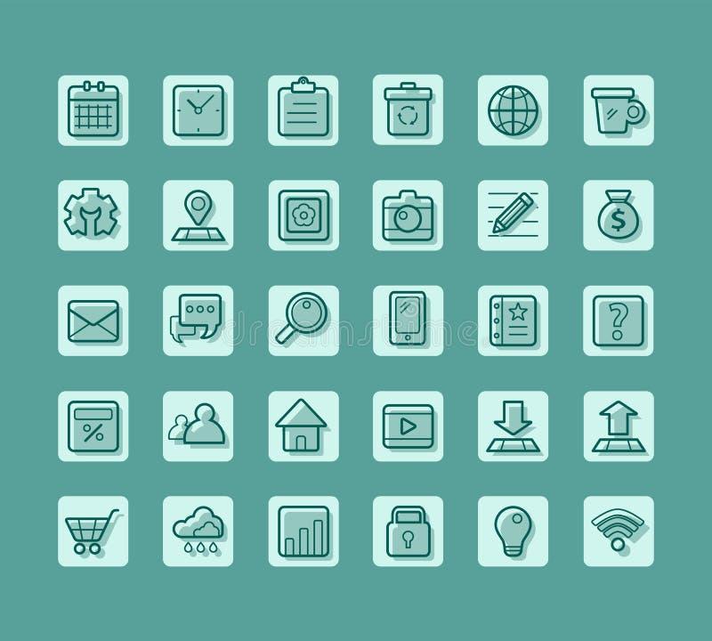 Bedrijfs vlak pictogram voor Web en mobiele vectorreeks stock foto's