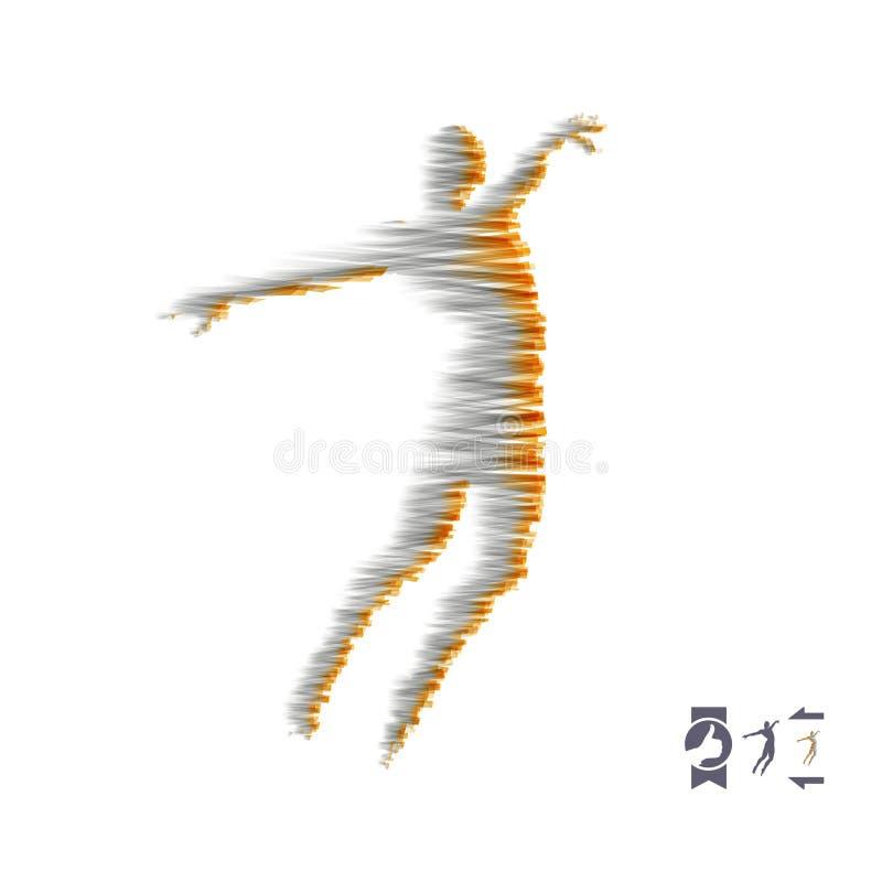 Bedrijfs, vrijheids of gelukconcept 3D Model van de Mens Menselijk Lichaamsmodel stock illustratie