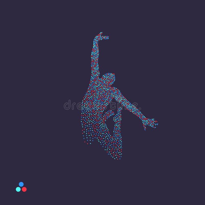 Bedrijfs, vrijheids of gelukconcept Gestippeld silhouet van persoon Vector illustratie vector illustratie